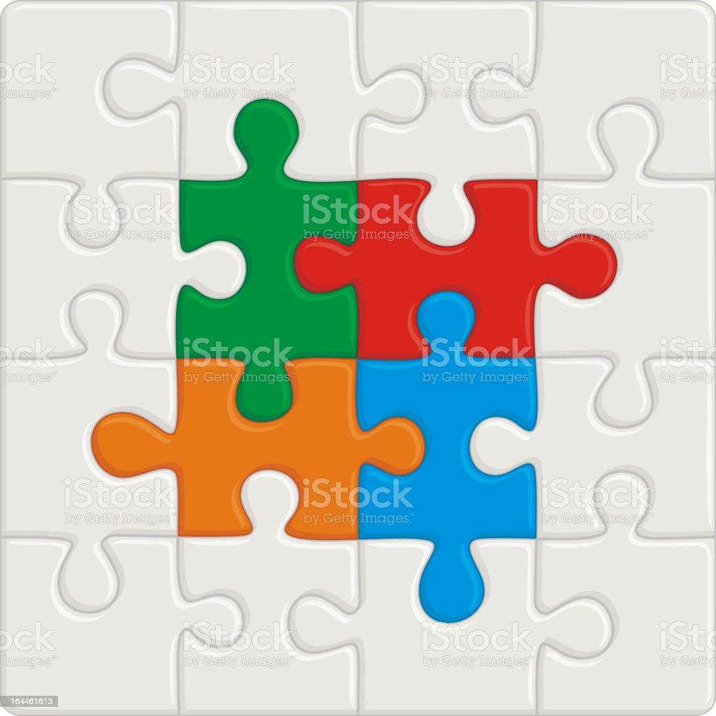 Design of white and colored jigsaw puzzle pieces vector art illustration