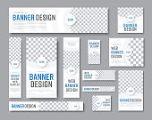 Design of vector white banners of standard sizes with a place for a photo. Vertical and horizontal web templates with semicircular elements and a round button.
