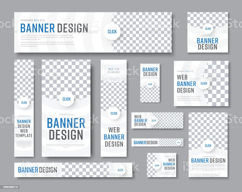 Design of white banners of standard sizes with a place for a photo vector art illustration