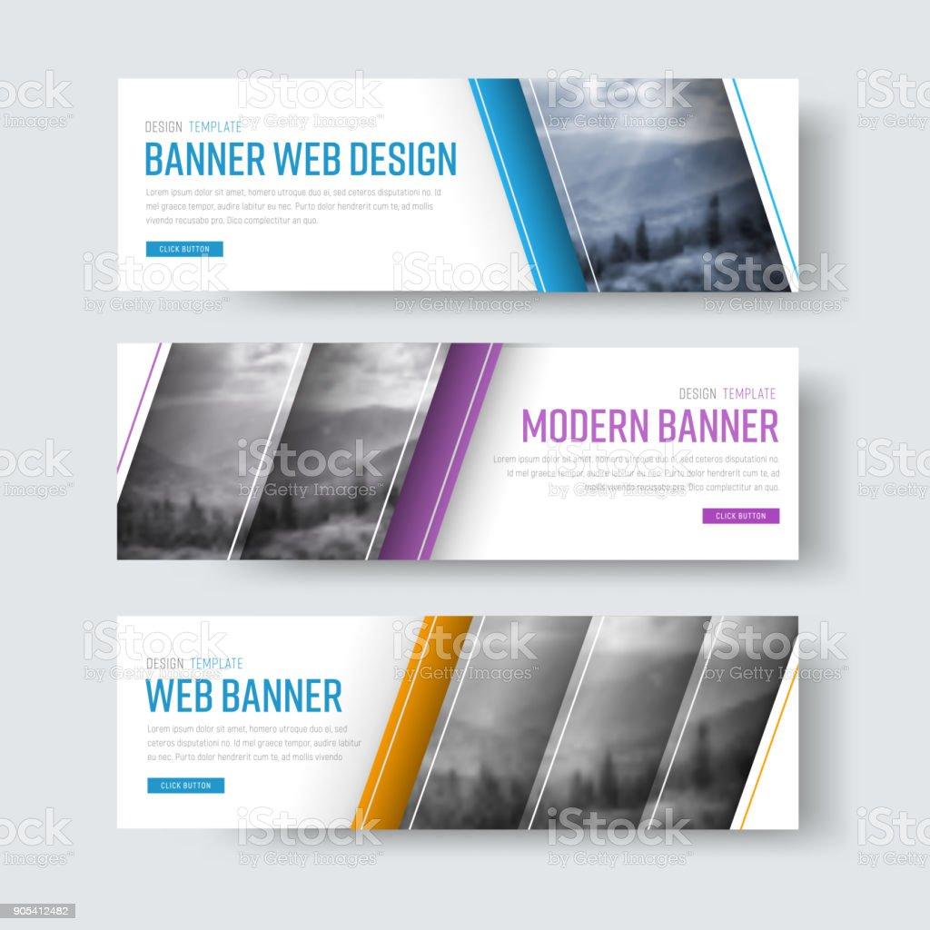 Design der weißen Banner mit diagonalen Streifen für ein Foto. – Vektorgrafik