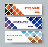 Design of white web banners with rhombuses for photos. Template in diagonal elements, text and button. Vector illustration. Set