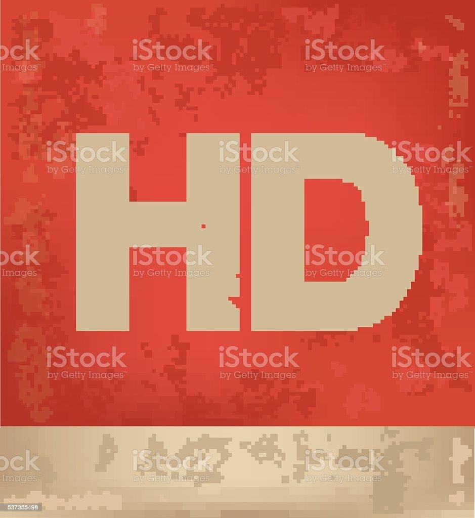 Progettazione Di Hd Su Sfondo Rosso Illustrazione Vettoriale Grunge