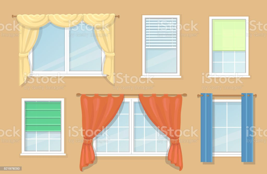 window curtain types new design options and types of windows curtains royaltyfree design options and types of windows curtains stock vector art more
