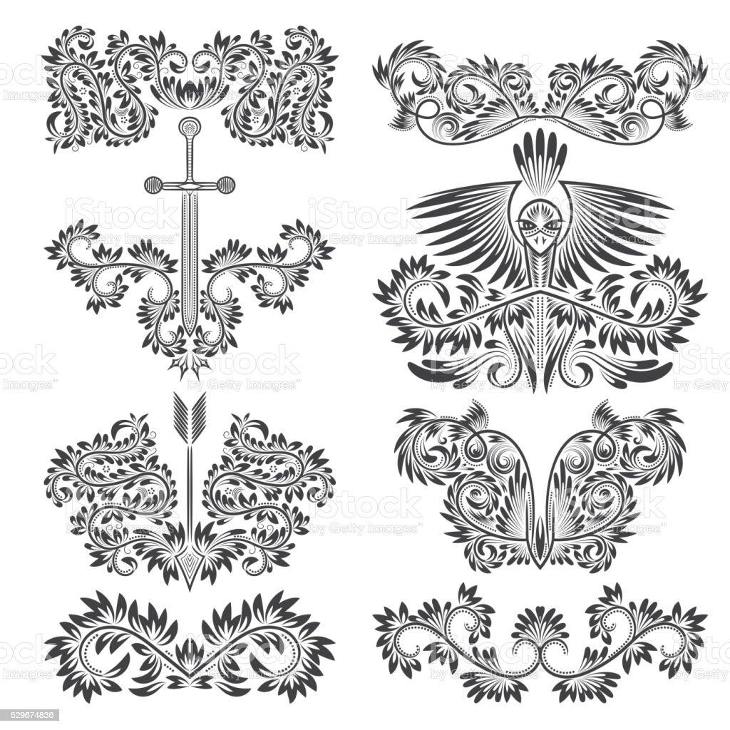 design ornamental elements set floral tattoo in vintage baroque style stock vector art 529674836. Black Bedroom Furniture Sets. Home Design Ideas