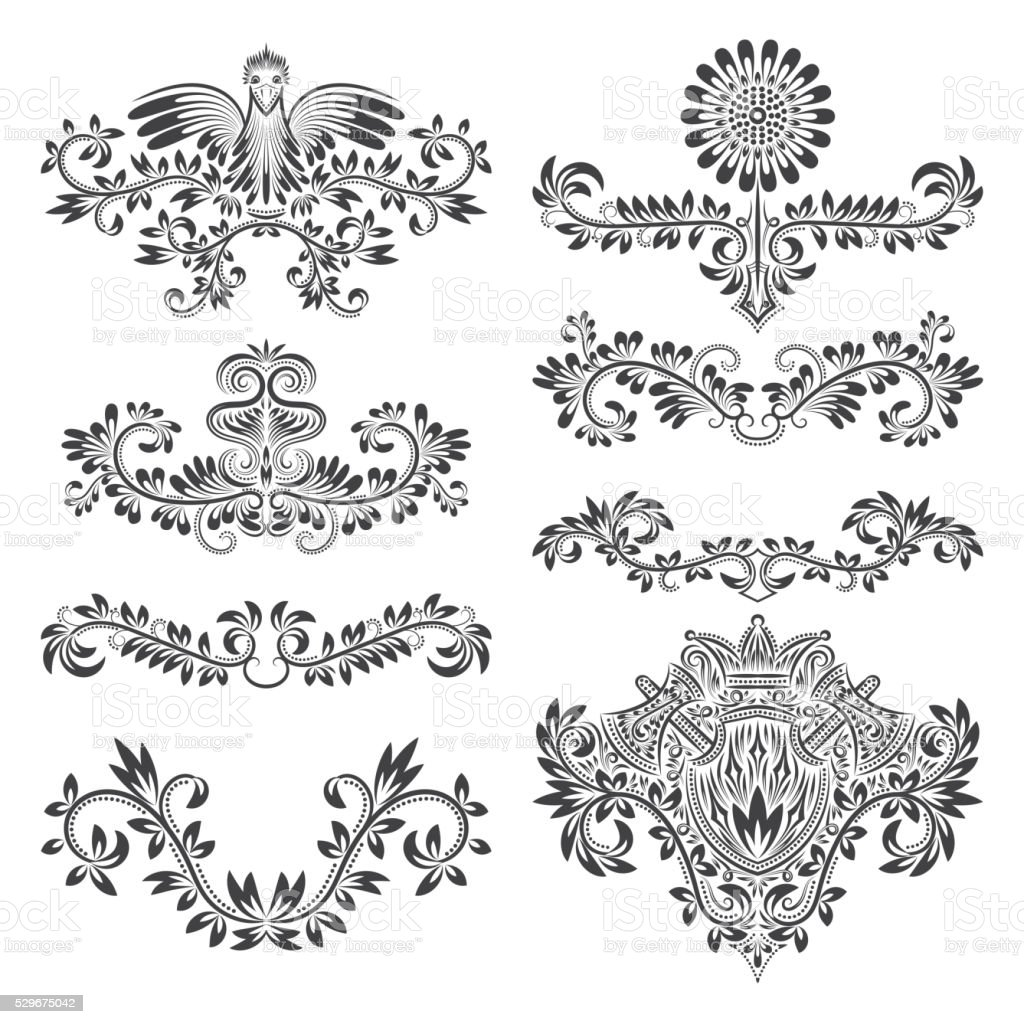 Design ornamental elements set floral tattoo in vintage for Baroque architecture elements
