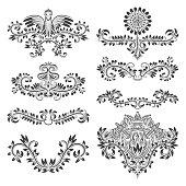 Design ornamental elements set. Floral tattoo in vintage baroque style.