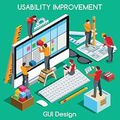 GUI UX Design People Isometric. Jpg. Jpeg. Eps. Vector.