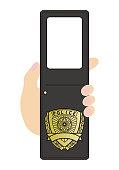 玩具 日本 警察 ID マーク 手帳 形 写真フレーム ベクター テンプレート 面白い ユーモア イラスト
