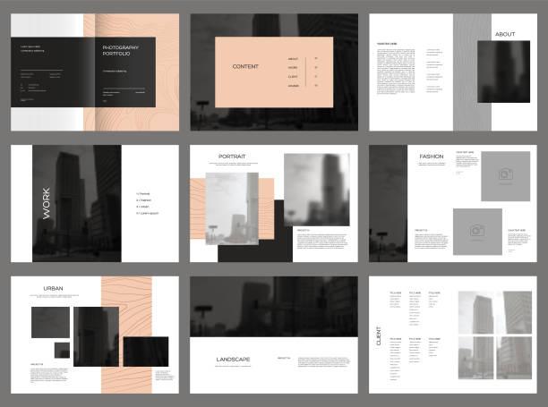 design fotografie portfolio, vektor vorlage broschüren, flyer, präsentationen, broschüre, magazin a4-format. - mappen stock-grafiken, -clipart, -cartoons und -symbole