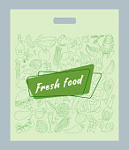 Design plastic bag for food shops with the pattern of the products. Fresh food. Vector