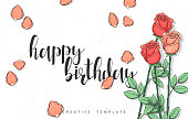 Design postcard with roses and calligraphy congratulation in sketch style. Happy birthday design with calligraphy poster print. Greeting card with calligraphy and sketch background. Calligraphic quote