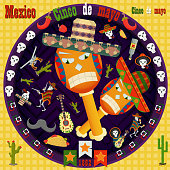 design, postcards_11_background, stickers, for the decoration of the Mexican holiday Cinco de mayo in the style of flat circular ornament