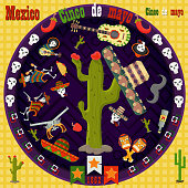 design, postcards_14_background, stickers, for the decoration of the Mexican holiday Cinco de mayo in the style of flat circular ornament
