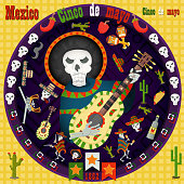 design, postcards_18_background, stickers, for the decoration of the Mexican holiday Cinco de mayo in the style of flat circular ornament