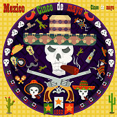 design, postcards_1_background, stickers, for the decoration of the Mexican holiday Cinco de mayo in the style of flat circular ornament
