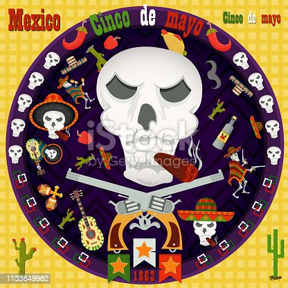 istock design, postcards_3_background, stickers, for the decoration of the Mexican holiday Cinco de mayo in the style of flat circular ornament 1133849982