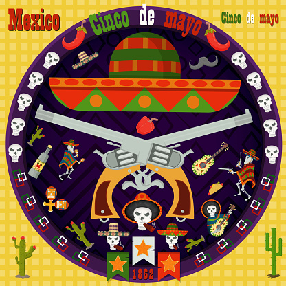 design, postcards_4_background, stickers, for the decoration of the Mexican holiday Cinco de mayo in the style of flat circular ornament