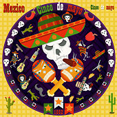 design, postcards_7_background, stickers, for the decoration of the Mexican holiday Cinco de mayo in the style of flat circular ornament