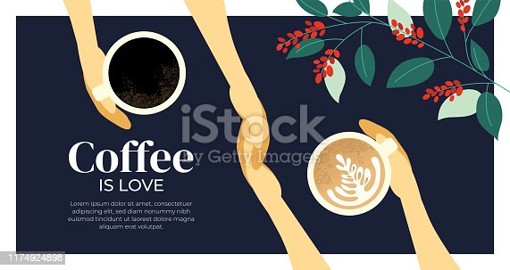 Vector illustration with cappuccino, espresso, quote Coffee is love. Cup of coffee in the hands. Branches with leaves and berry. Template for poster,banner, landing page, layout,website, prints, flyer