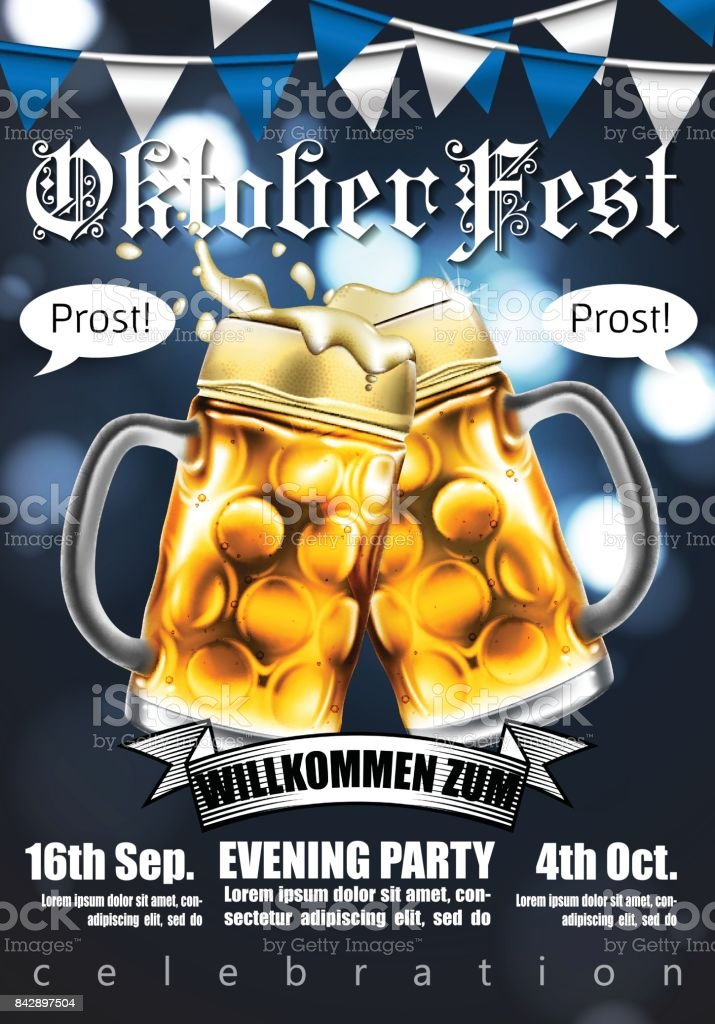 Design poster with food and drink elements for traditional beer festival Oktoberfest. Highly detailed illustration. vector art illustration