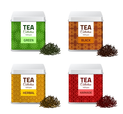 Design product package. Realistic tin boxes with tea, metallic gift pack and black, red and green dry leaves, aluminium square containers set bulk products jars vector isolated mockups