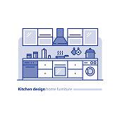 Kitchen design solution, combination idea, home furniture, arrangement project, vector mono line illustration