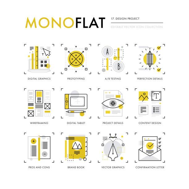design project monoflat icons - projektant stock illustrations
