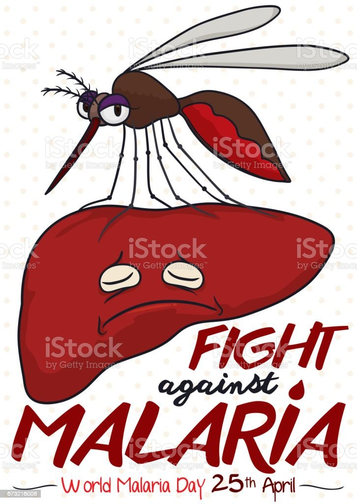 Design Promoting Fight against Malaria with Liver Infected by Mosquito векторная иллюстрация