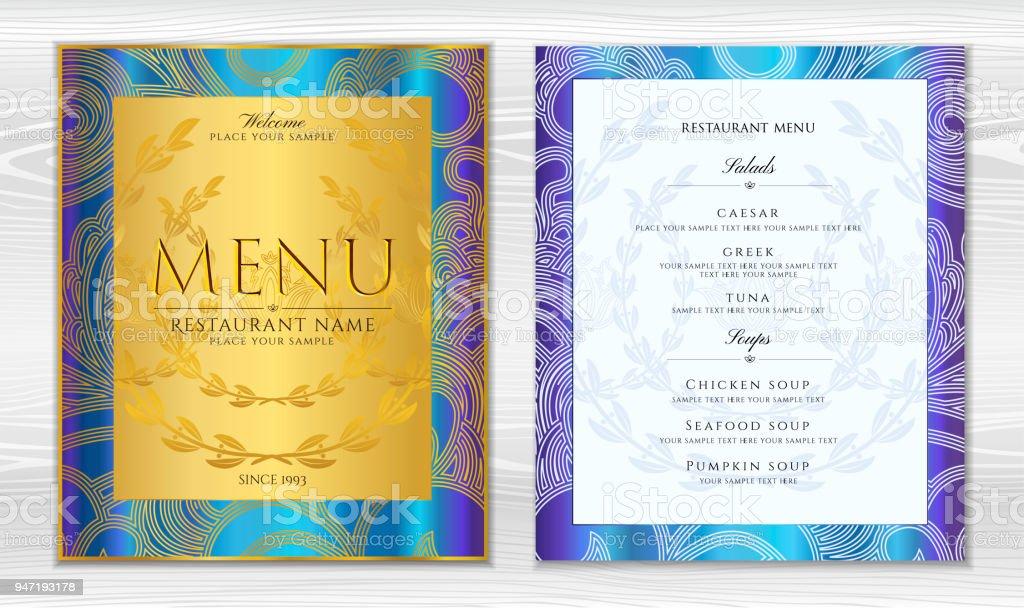 Designrestaurantmenütemplate In Schwarzer Farbe Mit Goldrahmen ...