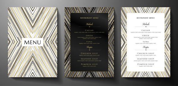 Design restaurant menu template with gold, black, silver glitch lines on black background. Luxury frame pattern (stripe border)