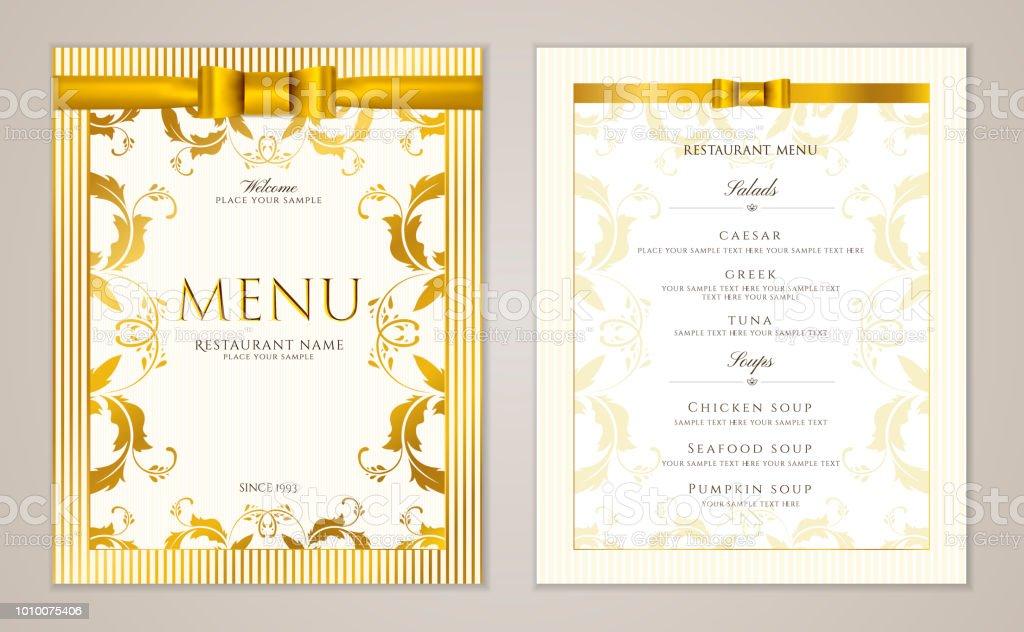 design restaurant menu template with gold floral border frame stock