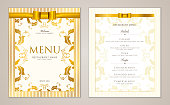Design Restaurant Menu template with gold floral border frame (stripy pattern)