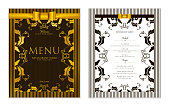 Design Restaurant Menu template with gold floral border frame (black stripy pattern)