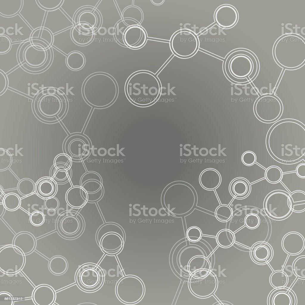 Design science concept. Vector molecule grey background vector art illustration