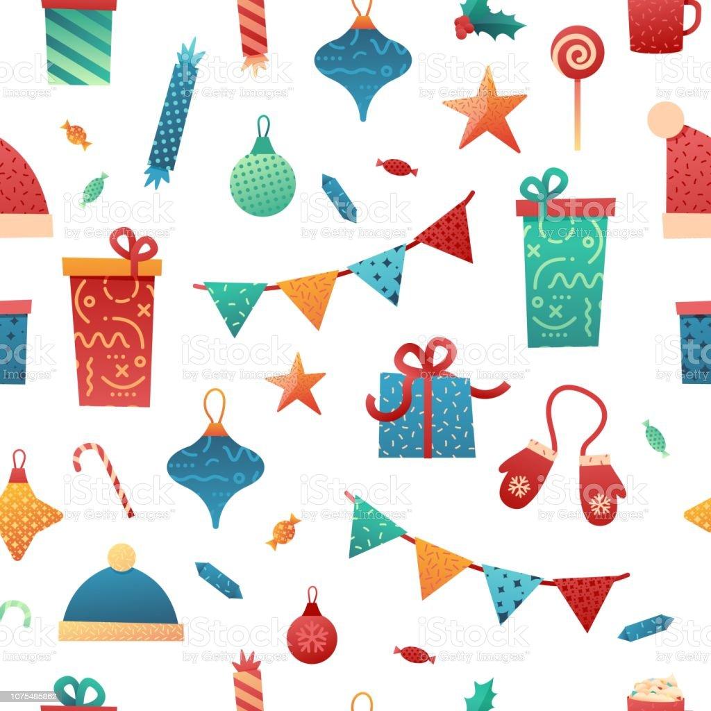 メリー クリスマスおしゃれなイラストとシームレスなパターンを設計し