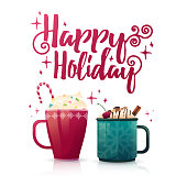 Design seasonal banner Happy Holidays. Poster template with a couple of hot beverage mugs. Christmas drinks with coffee, cocoa or chocolate. New Year banner for promotion and special xmas sale.