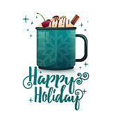 Design seasonal banner Happy Holidays. Poster template with mug hot beverage. Christmas drink with coffee, cocoa or chocolate. New Year layout flyer for holiday sale and New Year's bar menu. Vector