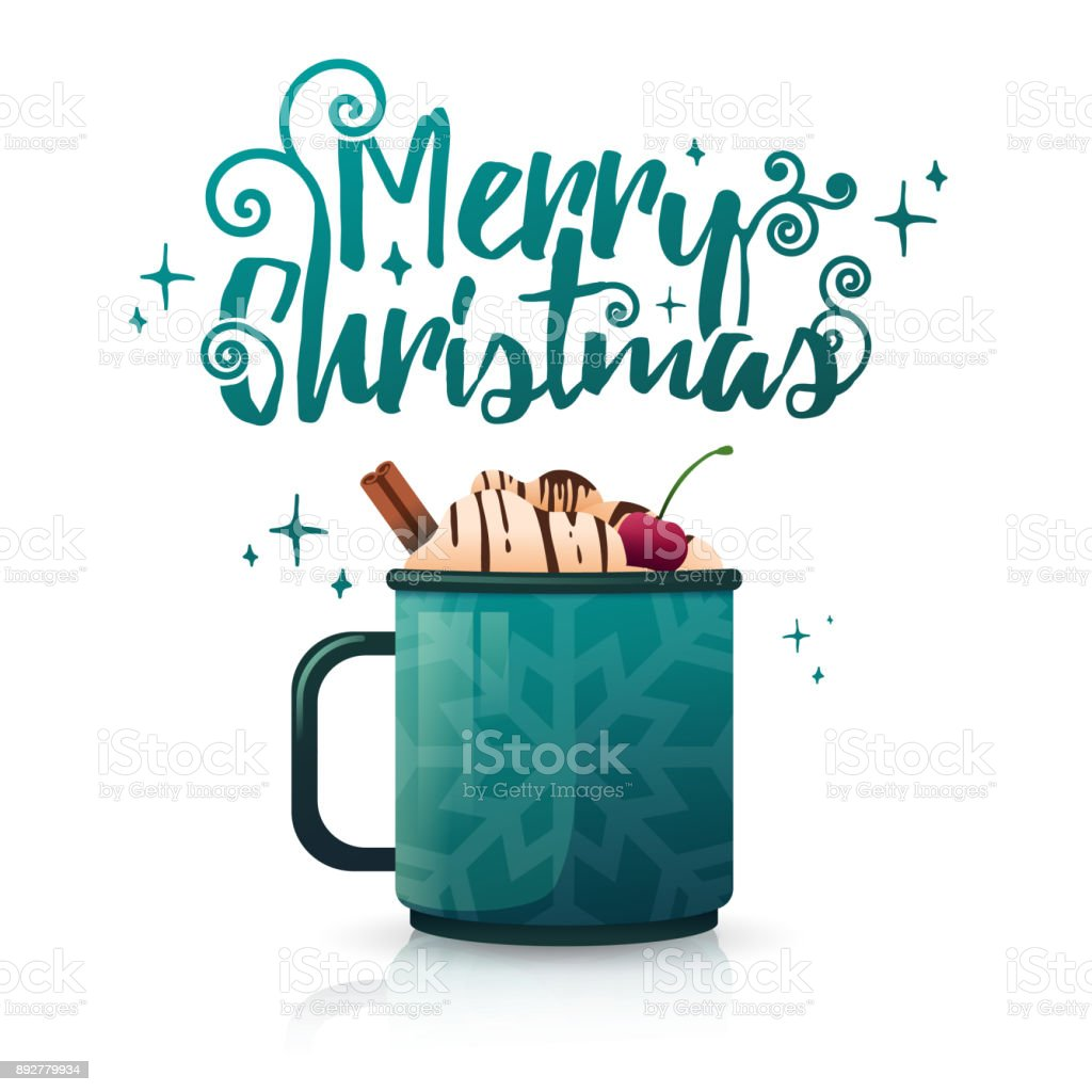 Design Seasonal Banner Merry Christmas Poster Template With Mug Hot Beverage Drink