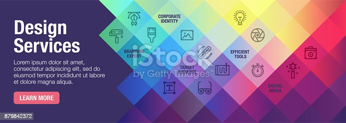 Design services vector banner illustration also contains icons for the topic.