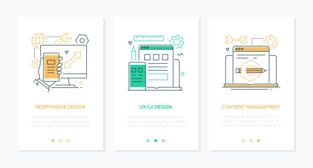 Design-Services-Satz linearer vertikaler Webbanner – Vektorgrafik