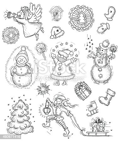 Design collection with Christmas characters, objects and symbols, with hand drawn elements