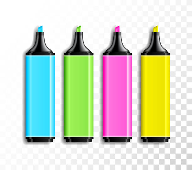 satz von realistischen farbige textmarker auf transparenten hintergrund zu entwerfen. schule oder im büro-artikel, bunten stift-vektor-illustration. - filzarbeiten stock-grafiken, -clipart, -cartoons und -symbole