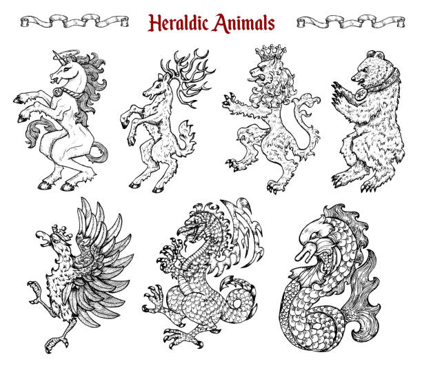 Design set with collection of heraldic beasts and animals like unicorn, dragon, lion isolated on white. vector art illustration