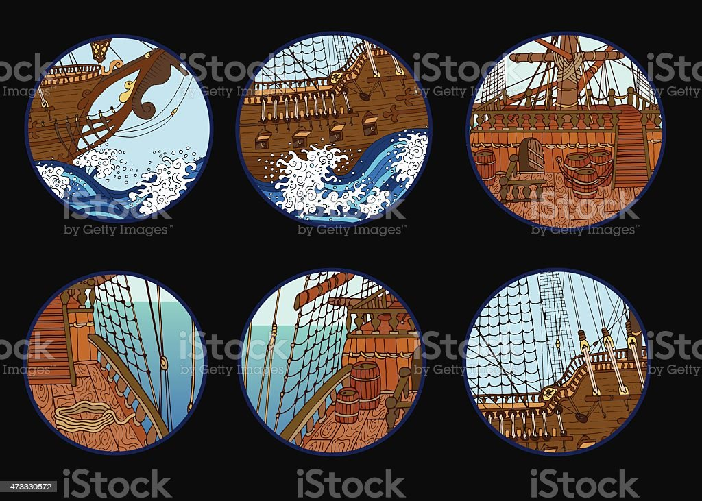 Design set with elements of sailing ship vector art illustration