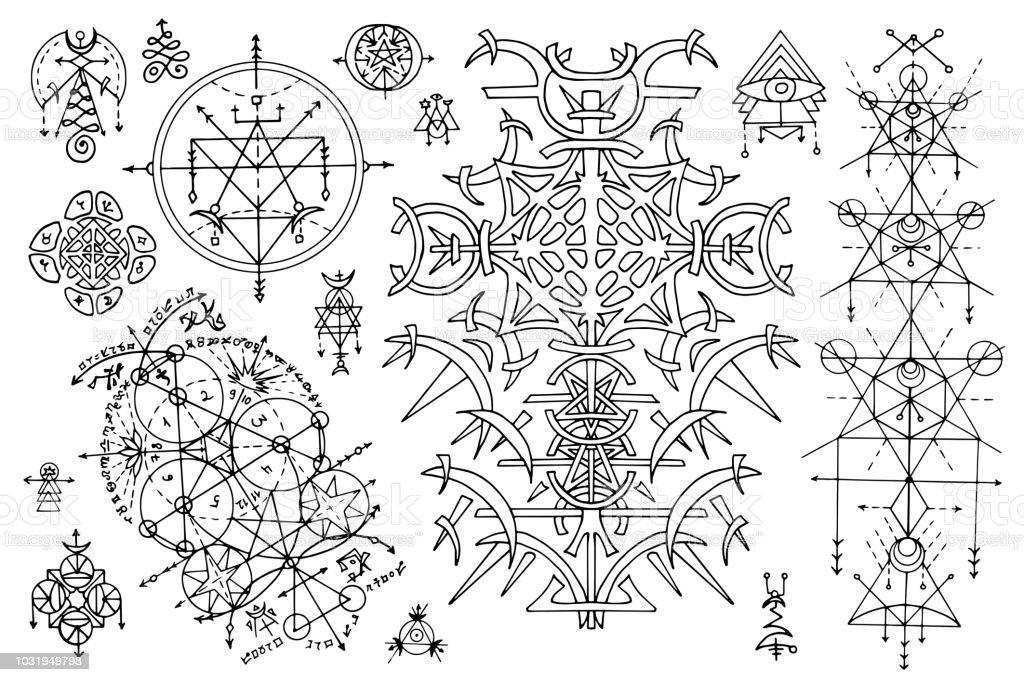Tasarım Gotik Soyut Desenler Ve Mistik Semboller Ile üzerine Beyaz