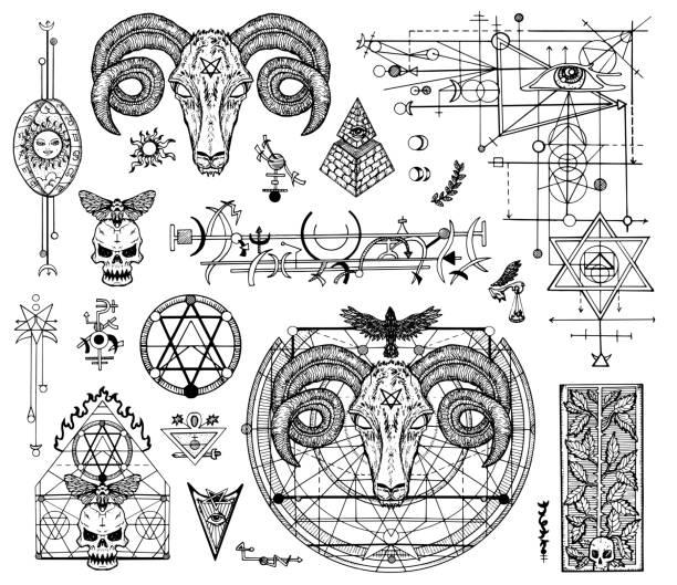 신비주의 종교 및 악마 기호 그래픽 도면 세트 디자인 - 고대의 stock illustrations
