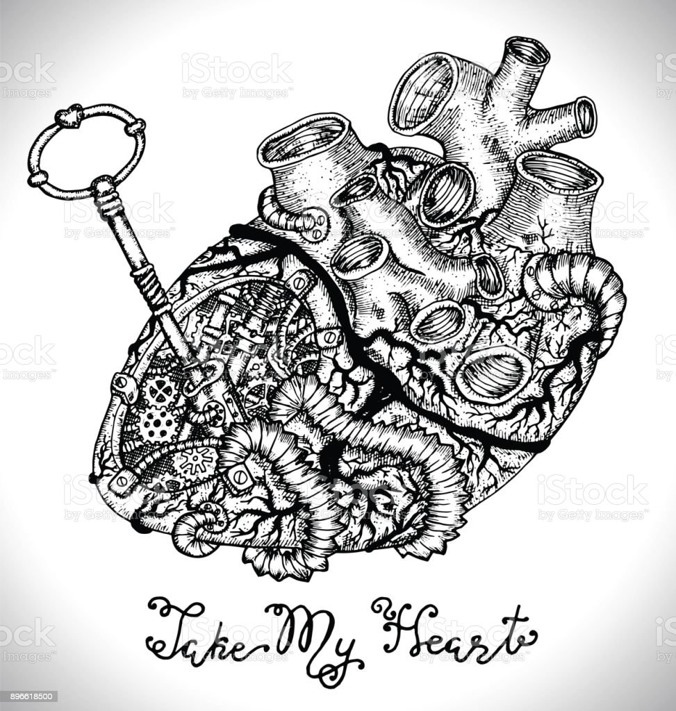 Design Set With Human Heart With Mechanical Parts Key And Text Stock