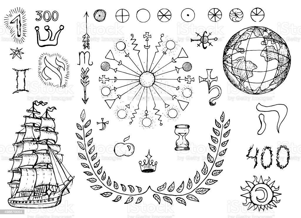 Juego de diseño con mystic geográficos y símbolos - ilustración de arte vectorial