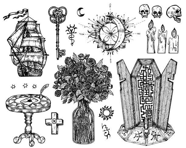 Design set with mystic symbols isolated on white. vector art illustration