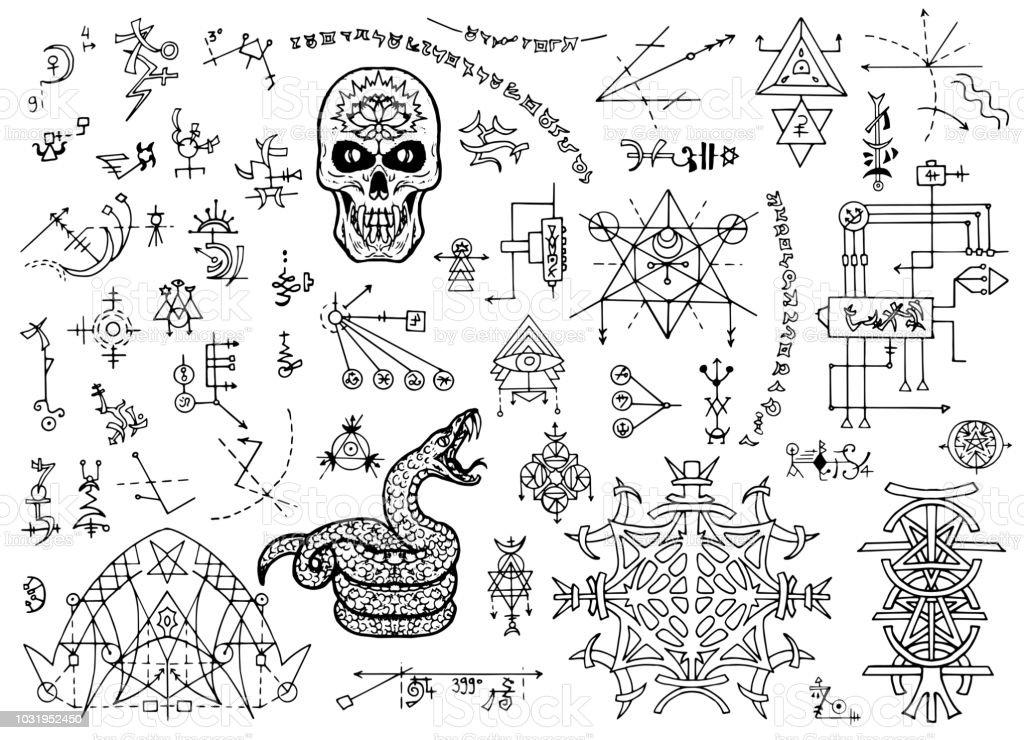 Ilustración de Diseño Conjunto Con Símbolos Místicos Calavera ...
